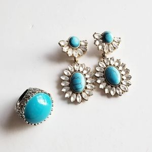 Aquamarine Costume Jewelry Earrings & Ring Set